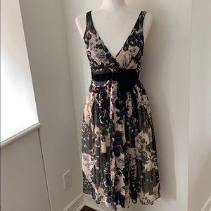 Tracy Reese Silk chiffon floral dress velvet bow